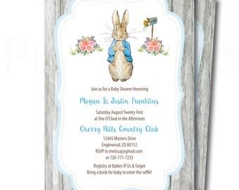Peter Rabbit Baby Shower Invitation To Print At Home, Printable Peter  Rabbit Shower Invitation,