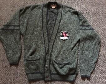 Vintage Mens Bugle Boy Global Challenge Plaid & Checks Cardigan Golf Sweater Size L
