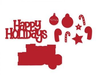 New! Sizzix Thinlits Die Set 10PK - Happy Holidays 3-D Drop-ins Sentiment by Stephanie Barnard 661083
