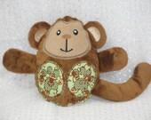 Monkey Stuffed Toy/ Stocking Stuffer/ Stuffed Animal/ Plushie/ Monkey Softie/ Monkey Peekaboo/ Reversible/ Peekaboo Monkey