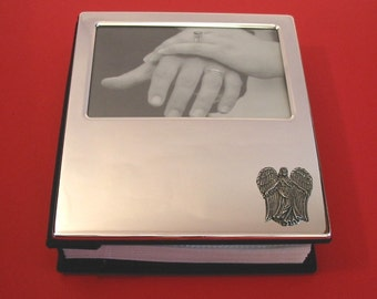 "Guardian Angel Plated 100 6"" x 4"" Photo Album With Pewter Motif Mother Father Christmas Gift"