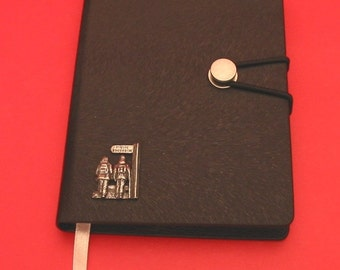 Public Footpath Hand Cast Pewter Motif on A6 Black Journal Walking Hiking Gift
