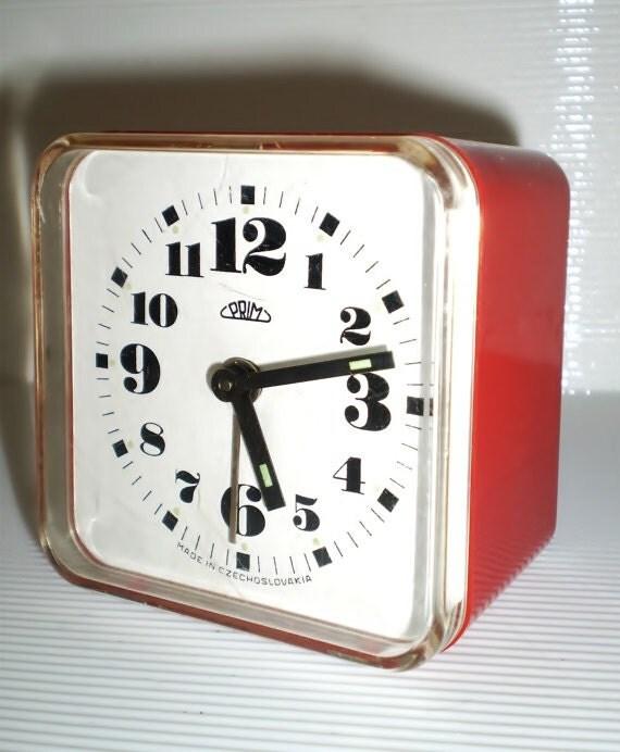 Antique Prim Unique Alarm Clock Numerals Phosphor Red Alarm