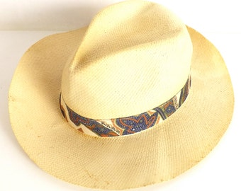 Panama straw hat handmade vintage 50's made in italy
