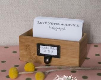 50 Custom Wish Cards | Storage Box & Library Pull | Wedding | Engagement | Bridal Shower Advice