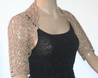 Gold Wedding Bridal Bolero Shrug Lace Crochet Shrug Boleros Beige Camel Silk