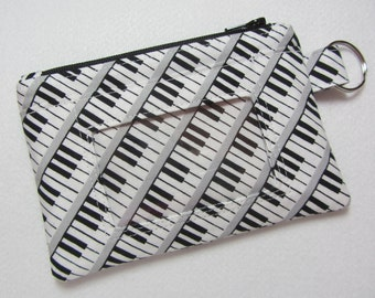 Piano / Keyboard / Music Keychain ID Wallet w/ Split Ring, Student / Teacher / Work ID, Badge Holder, Zip Pouch - 2 Options for ID Pocket