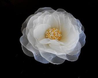 Handmade bridal champagne organza flower headpieces.Ivory Flower Hair Pin.Wedding Hairpins, Bridal Hair Accessories, Floral Hair Combl