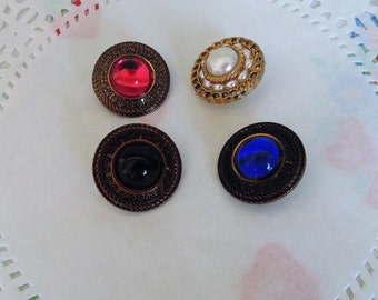 Vintage Buttons Jewel Tone Vintage Sewing Supplies Notion Fancy Buttons