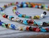 Eyeglass Holder, Colorful Beaded Eyeglass Chain, Millefiori Reading Glasses Lanyard,  Fun Chain for Glasses
