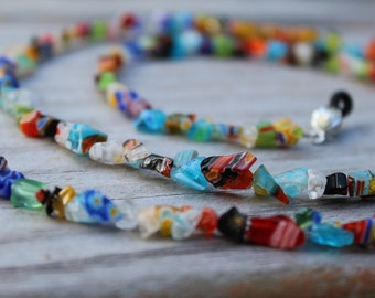 Eyeglass Holder, Colorful Beaded Eyeglass Chain, Millefiori Reading Glasses Lanyard,  Chain for Glasses, Handmade Birthday Gift Idea