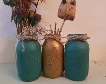 Distressed Gold and Teal Mason Jar, Painted Mason Jar, Wedding, Baby Shower