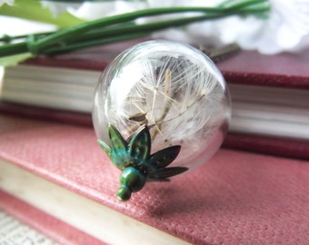 Dandelion necklace - dandelion seed wishes - botanical jewellery - dandelion seed necklace - handmade in the UK