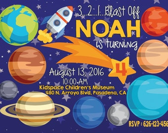 Space Birthday Invitation - Outer Space Party Invitations - Planet - Rocket