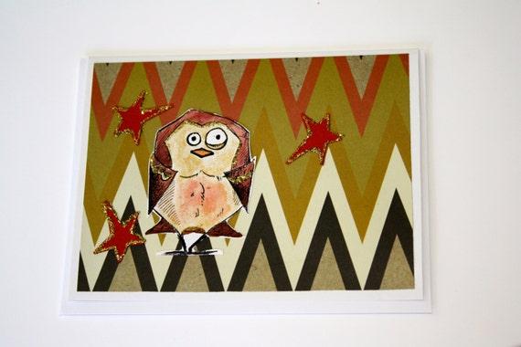 Whimsical Handmade Greeting Card: Humorous Bird owl stars