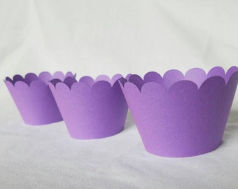 12 purple scalloped cupcake wrappers tangled theme march of dimes