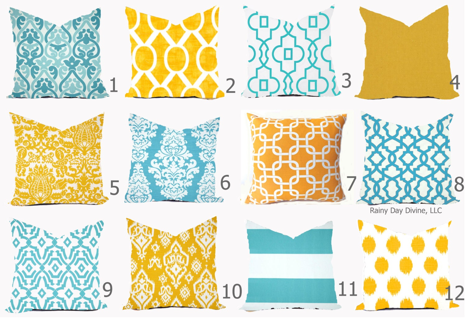 pillow cover throw accent pillow aqua turquoise blue yellow modern lattice ikat 16x16 18x18