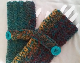 Crochet Fingerless Gloves-Teal Gold