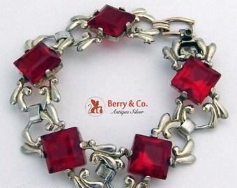 SaLe! sALe! Radiant Red Art Deco Sterling Silver Bracelet