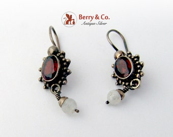 Garnet and Moonstone Dangle Earrings Sterling Silver