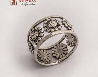 Flower Band Ring Sterling Silver