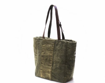 Canvas bag, tote bag, recycled bag, tote bag with leather handles, canvas bag with leather handles, recycled tote bag