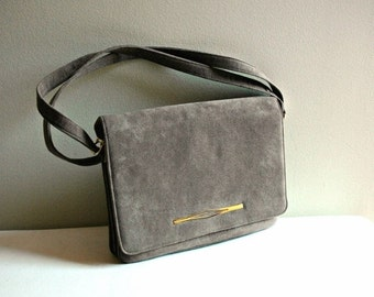 On SALE Vintage grey micro suede purse with front flap and adjustable strap. Three compartment purse. grey bag.