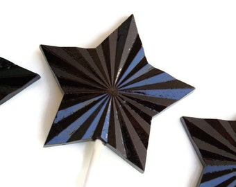 New Years Eve Party Favors Lollipops - Large Faceted Hard Candy Black Stars  - 6 Lollipop Pack -  Black Wedding Favors, New Years Eve Party