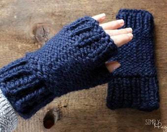 SALE, Navy Chunky Knit Fingerless Mittens, Knit Gloves, Fingerless Gloves