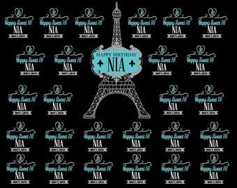 Paris backdrop, Sweet 16 sign, Party Backdrop, Vinyl Backdrop for Sweet 16 party, Photo Booth, Blue Sweet 16 banner