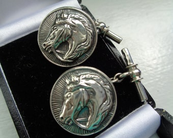 Sterling Horse Head Cuff Links