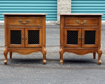 Vintage French Provincial Pair of Nightstands, Shabby Chic Cottage
