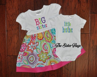 Long or Short Sleeve Big Sister Little Brother Set - Big Sister Shirt Dress Set - Coming Home Outfit -Baby Gift