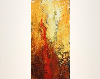 yellow painting red abstract original painting orange modern art volcano Eruption Leah Fitts