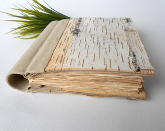 Vintage style journal with birch bark hardcovers and linen fabric spine- 120 coffee colored pages- rustic birch sketchbook- ecofriendly gift
