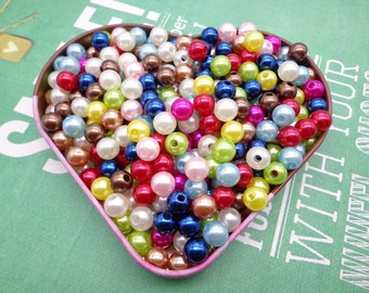 SALE--300pc 8mm Faux Pearl Beads,Mixed Colors Plastic Beads