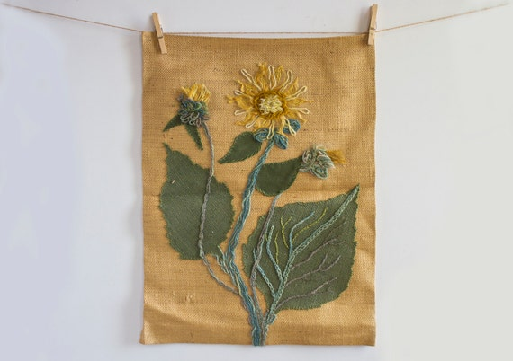 Rustic Burlap Wall Decor : Vintage burlap wall decor sunflower applique rustic