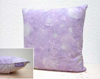 "Handmade 16""x16"" Cotton Cushion Pillow Cover in Light Mauve Fossil Fern Print Design"