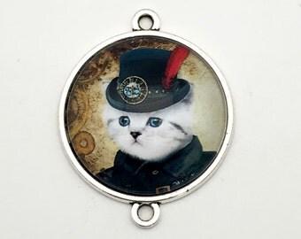 1 steampunk gentleman cat glass connector bronze tone,30mm # CON 333