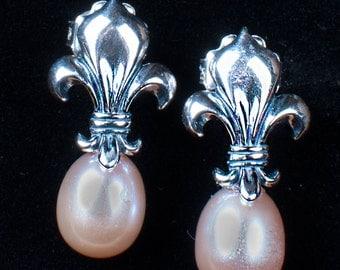 Sterling Silver Fleur de lis Earrings- Hand-made