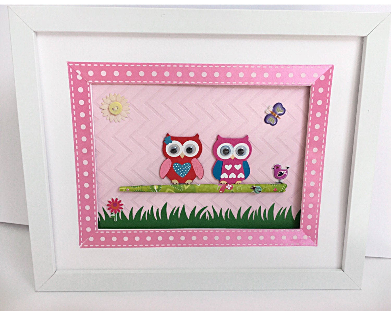 little pink owl framed room decorgaviotadecoupage on etsy