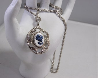 Silver Tone Whiting Davis Necklace With A Cameo Silver Tone Design Blue Rose Pendant -Hallmark Whiting Davis on Tag at Clasp