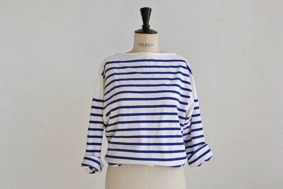 French sailor striped tee middy oversized white and blue for Striped french sailor shirt