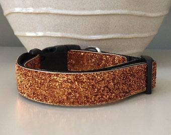 Dog Collar / Burnt Orange Metallic Glitter