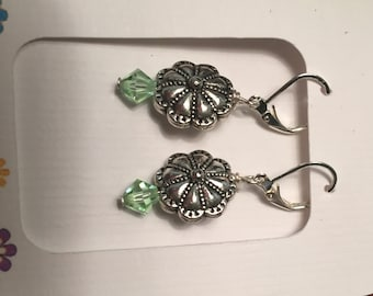 Bali Silver and Swarovski Earrings