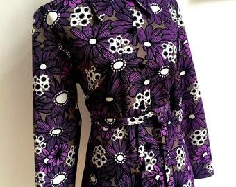 1960s - Fabulous Purple Mod Ye-Ye Shirt-Dress (M/L Fit)