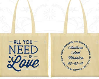 All you Need is Love Bags, Wedding Bags, Love Wedding Bags, Romantic Wedding, Hearts Bags, Wedding Tote Bags (419)