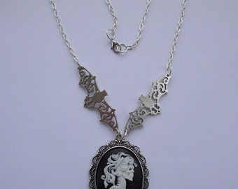 Skull , Bat necklace, choker, cabochon, cameo, chain