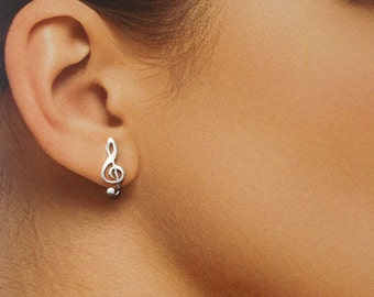 925 Solid Sterling Silver MUSIC NOTE Earrings / Treble Clef Earrings / Music Lover Jewelry - Small- Polished- Studs