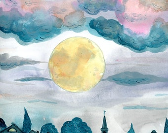 City Moon print - 8x10